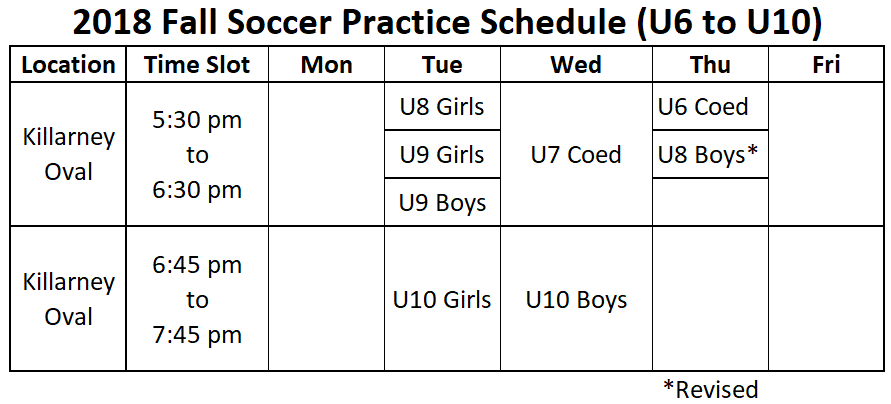 Fall Practice Schedule - Revised