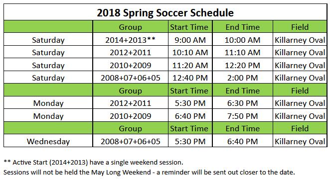 2018 Spring Soccer Schedule