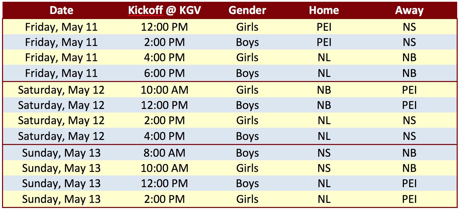 Under 18 Atlantic Showcase Schedule