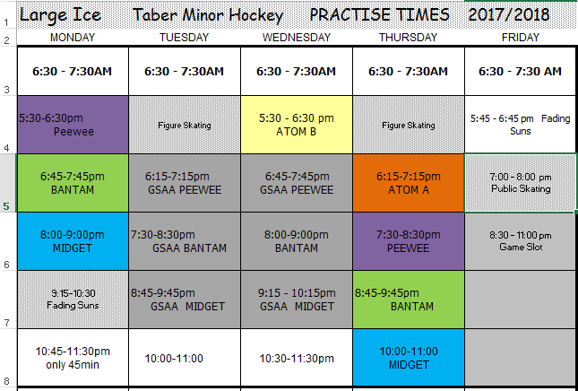large ice schedule