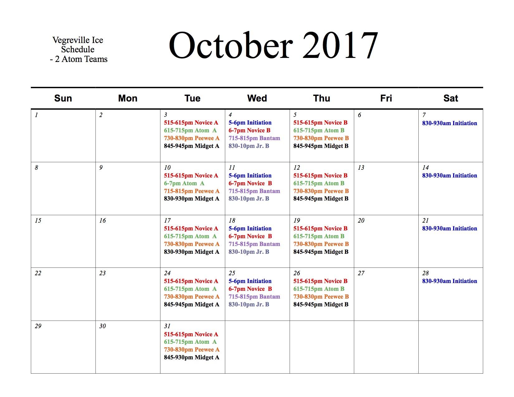 Veg Schedule Oct 2017