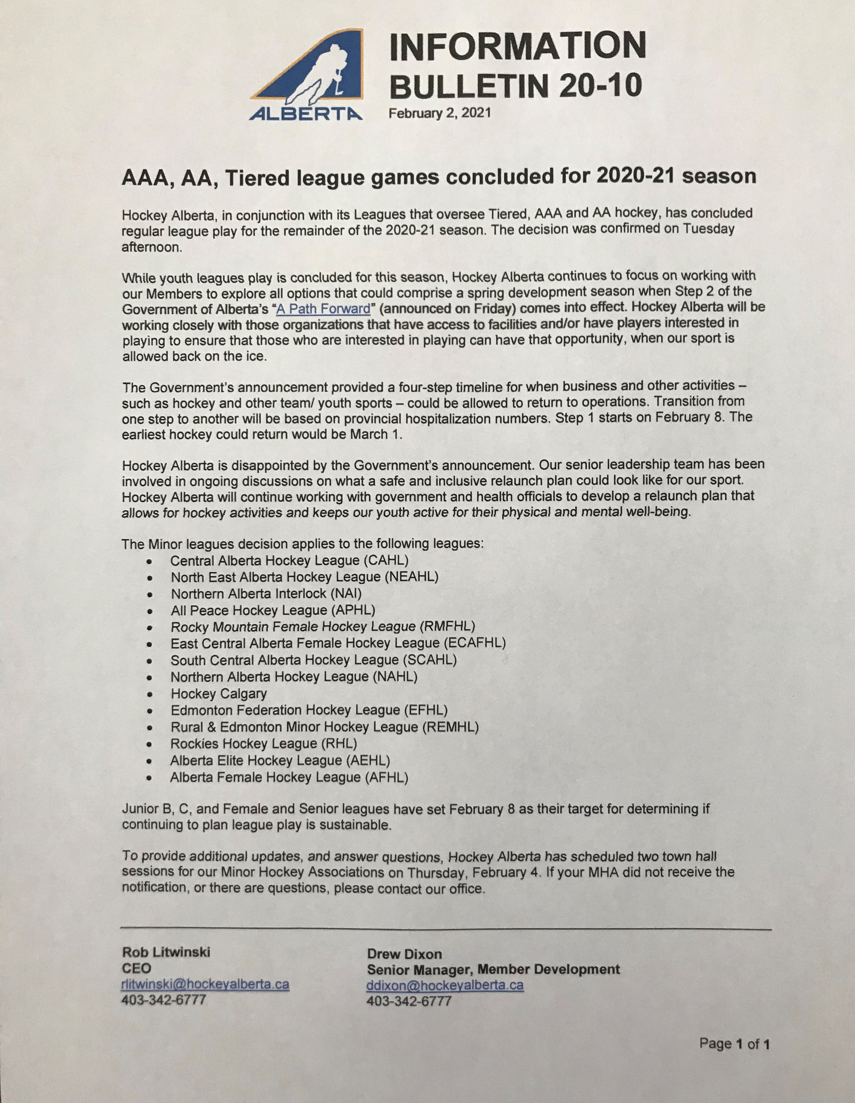 Hockey Alberta Information Bulletin 20-10