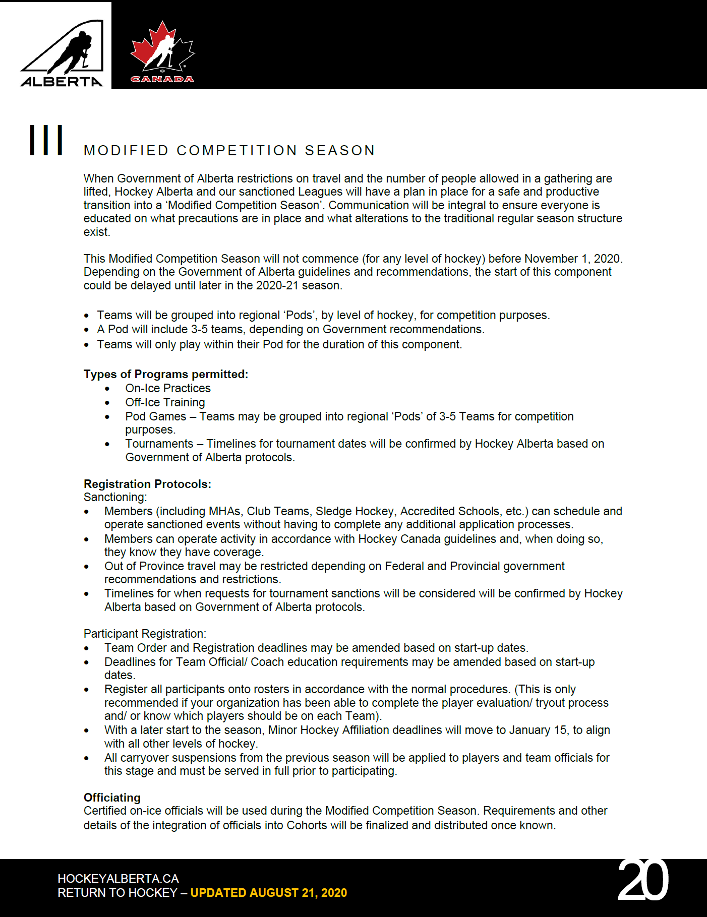 Hockey Alberta Modified Competition guidelines