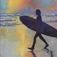 Surfer Boy, Watercolor, 14x11