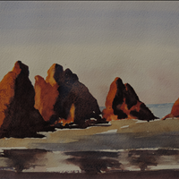 Glowing Ruby Beach, Watercolor, 11x14