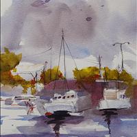 Waiting in Paradise, Watercolor, Surrey Art Gallery SAGA Rental/Purchase 604 501 5566