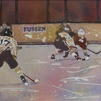 The Faceoff, Watercolor, Figures in Movement Online Show, www.langleyarts.ca