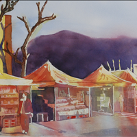 The Market in Pompeii, Watercolor, N Vancouver Arts Council, Art Rental/Purchase, 604 988 6844