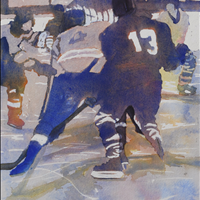 Fight To The Finish, Watercolor, Figures in Movement Online Show, www.langleyarts.ca