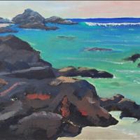 Paradise II, Acrylic on Paper, 9x12