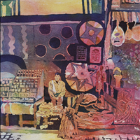 The Shop Keeper, Watercolor, corporate collection