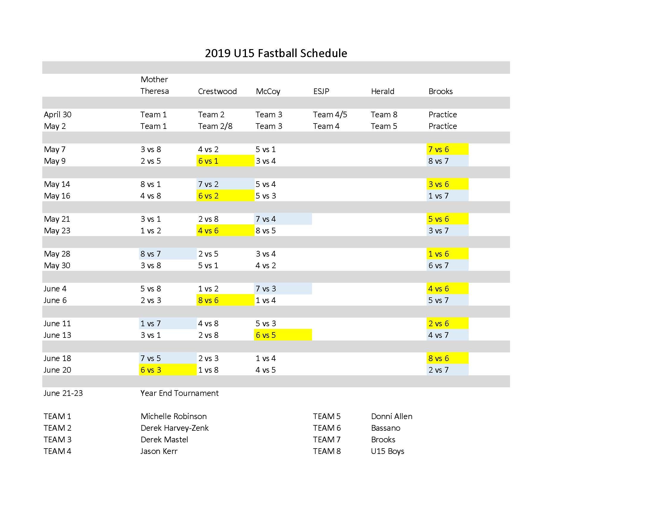 Fastpitch U15 Schedule