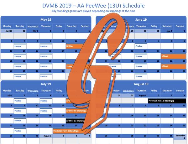 PeeWee AA Schedule