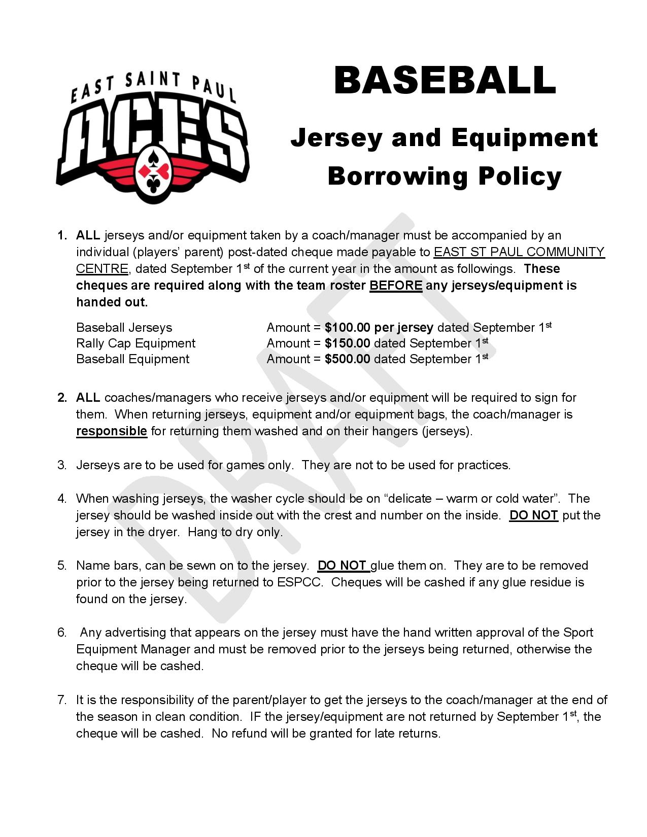Baseball Jersey & Equip Policy