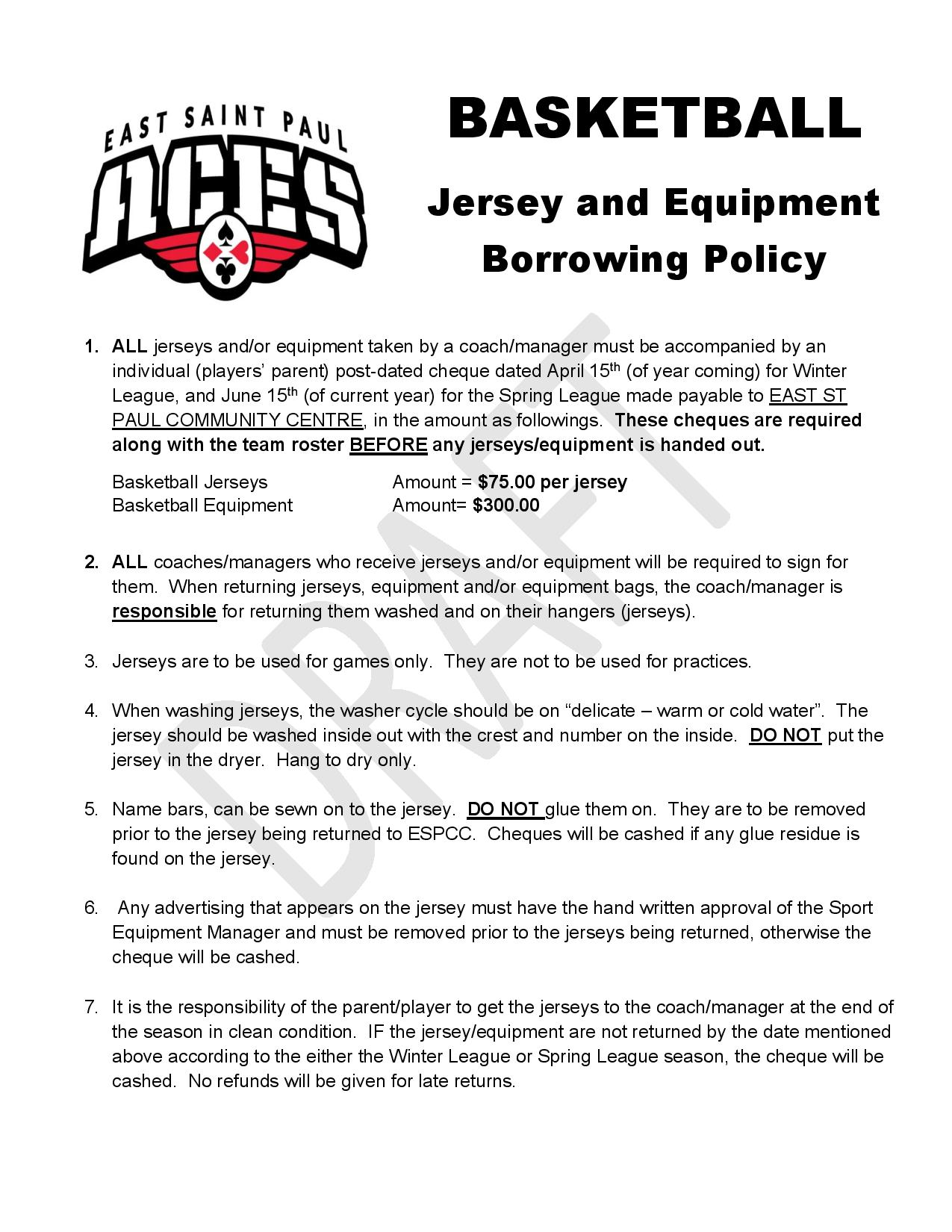 Basketball Jersey & Equip Policy