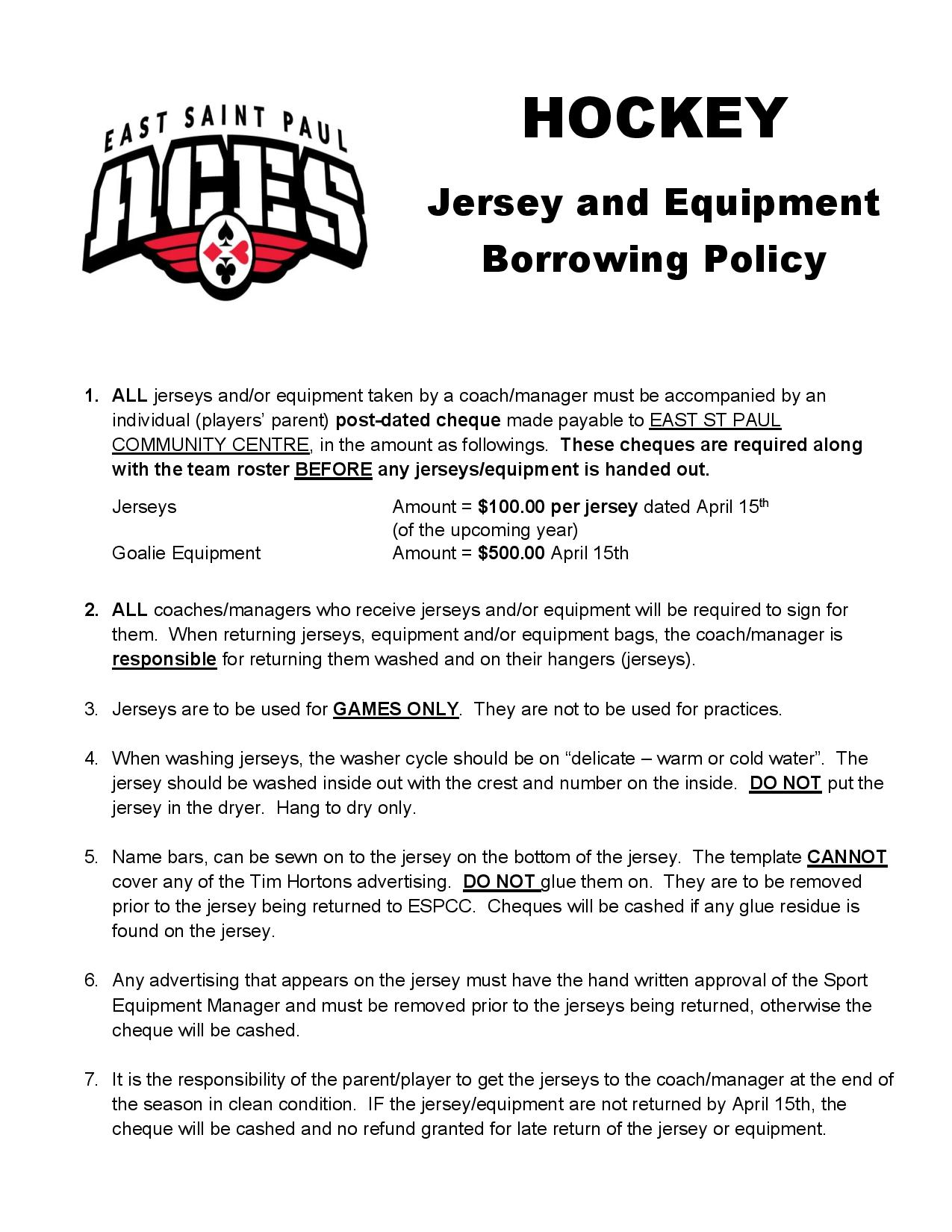 Hockey Jersey & Equip Policy