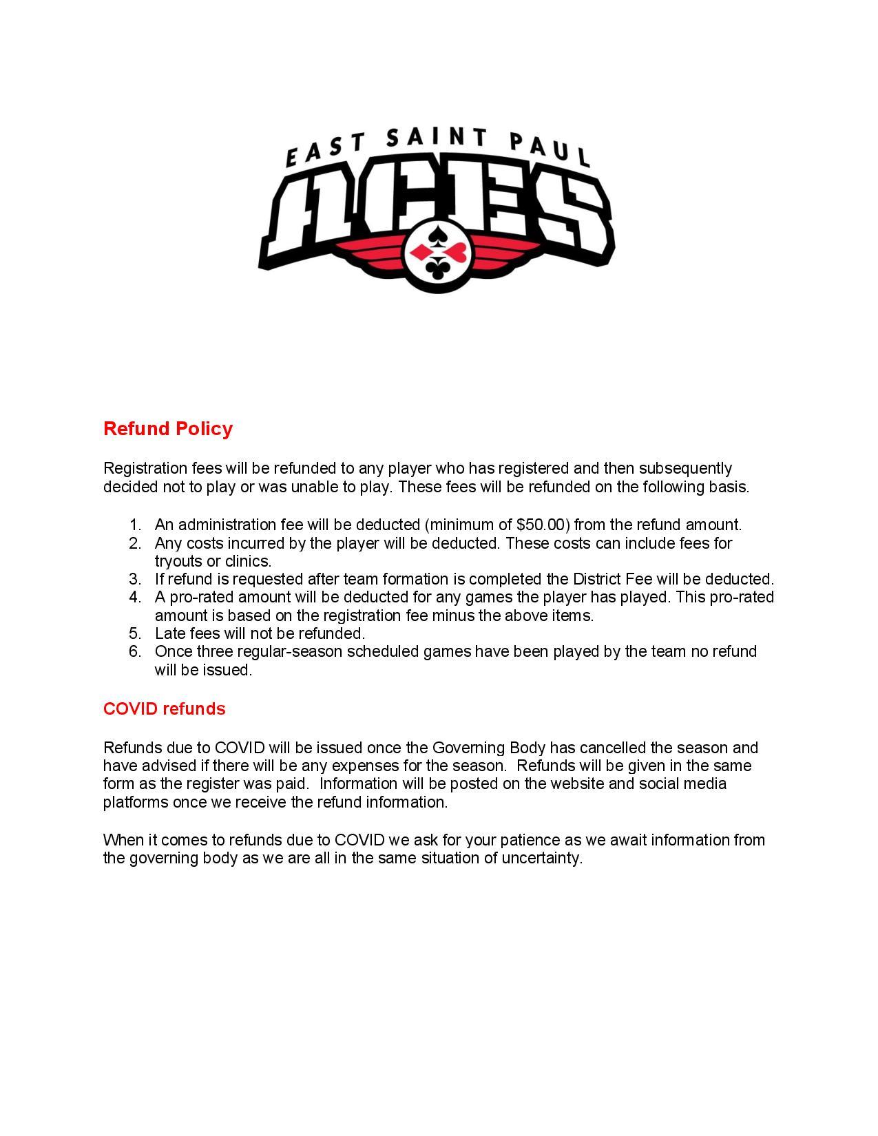 Soccer refund policy