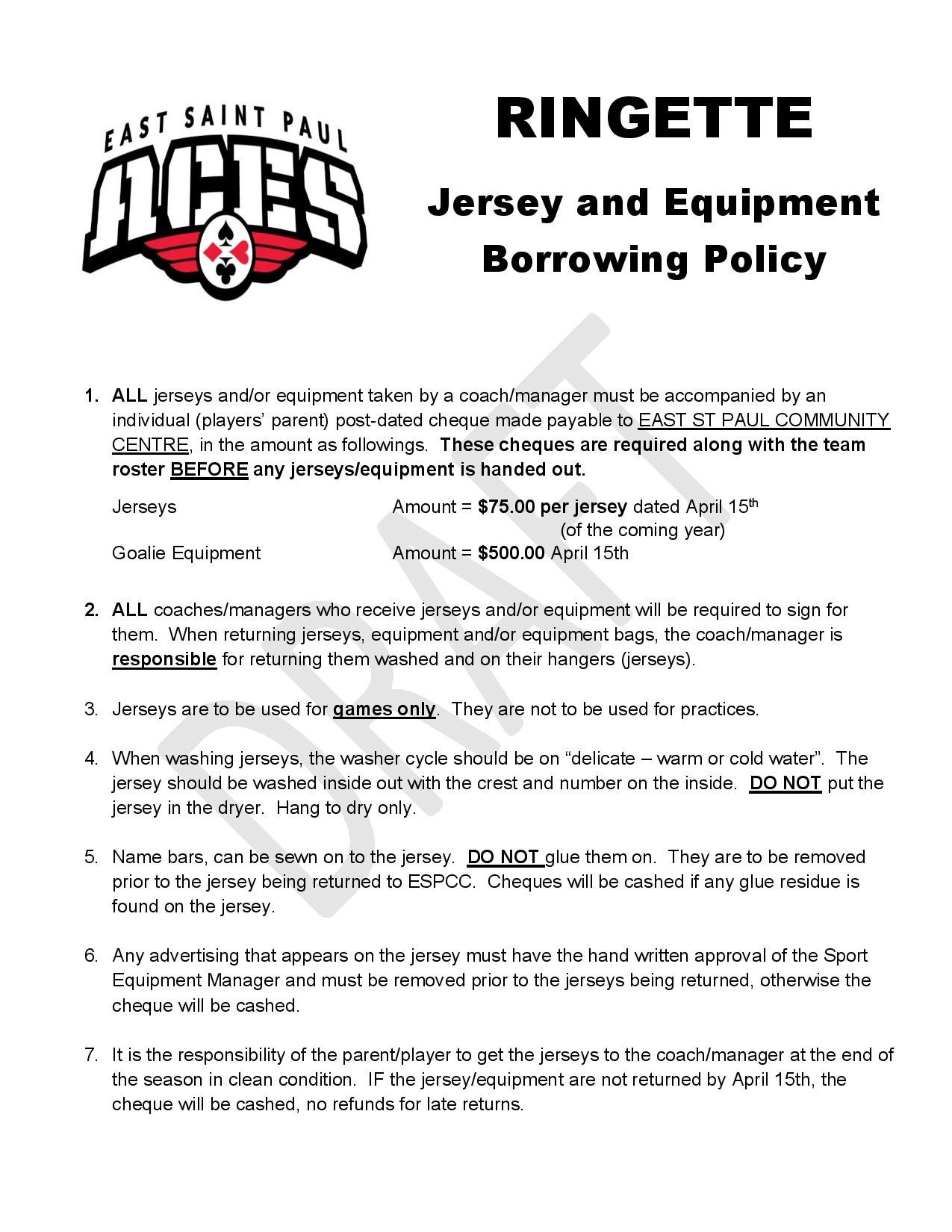 Ringette Jersey & Equip Policy