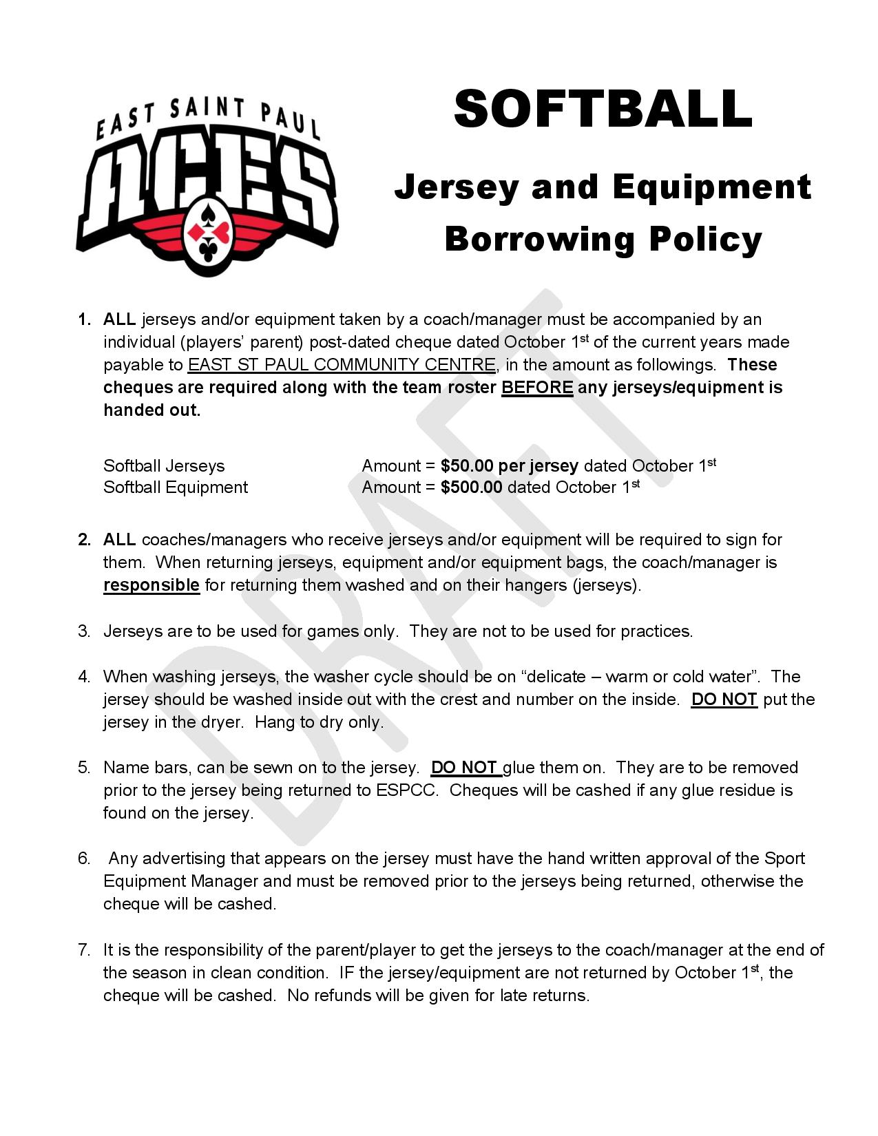 Softball Jersey & Equip Policy