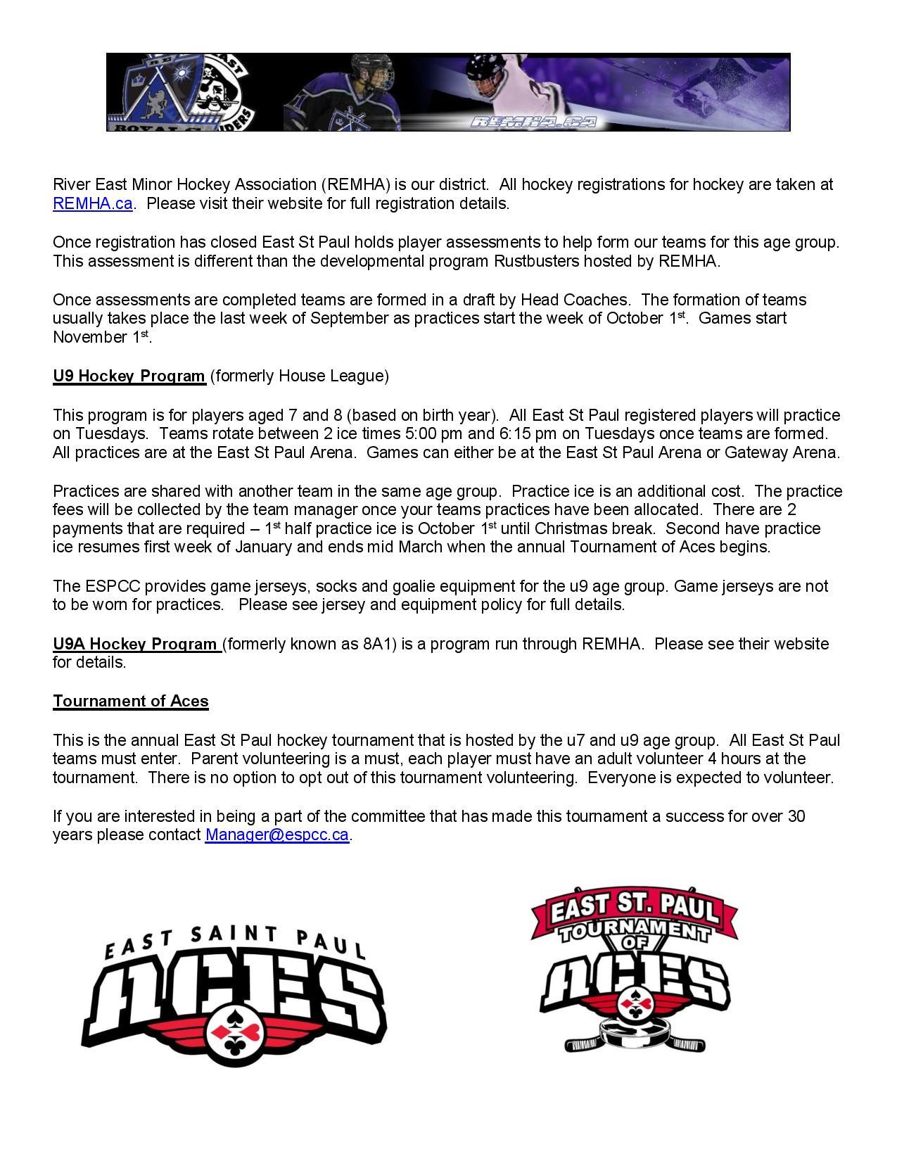 u9 Hockey Program Information