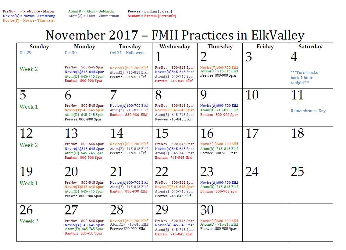 November Ice Schedule