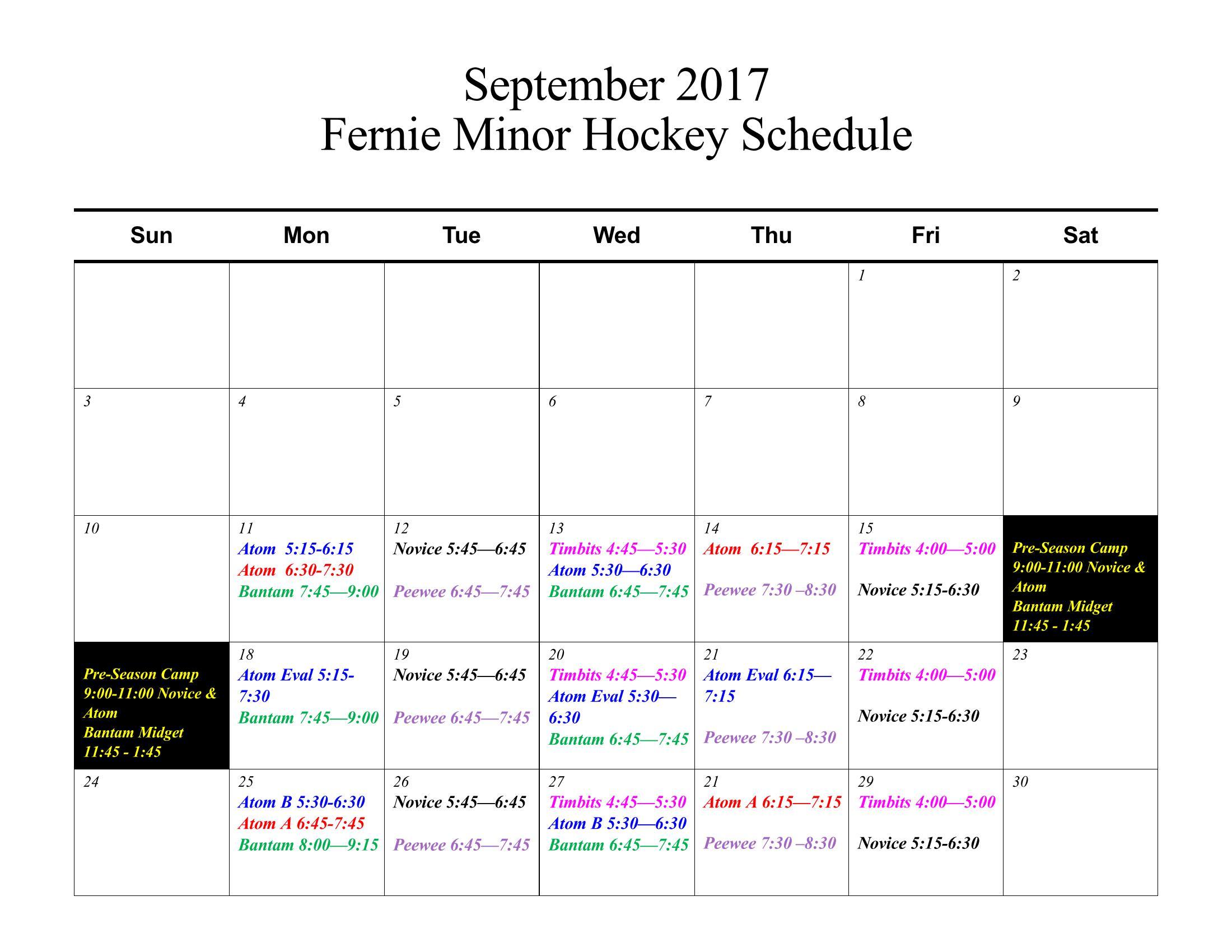 2017/18 Ice Schedule