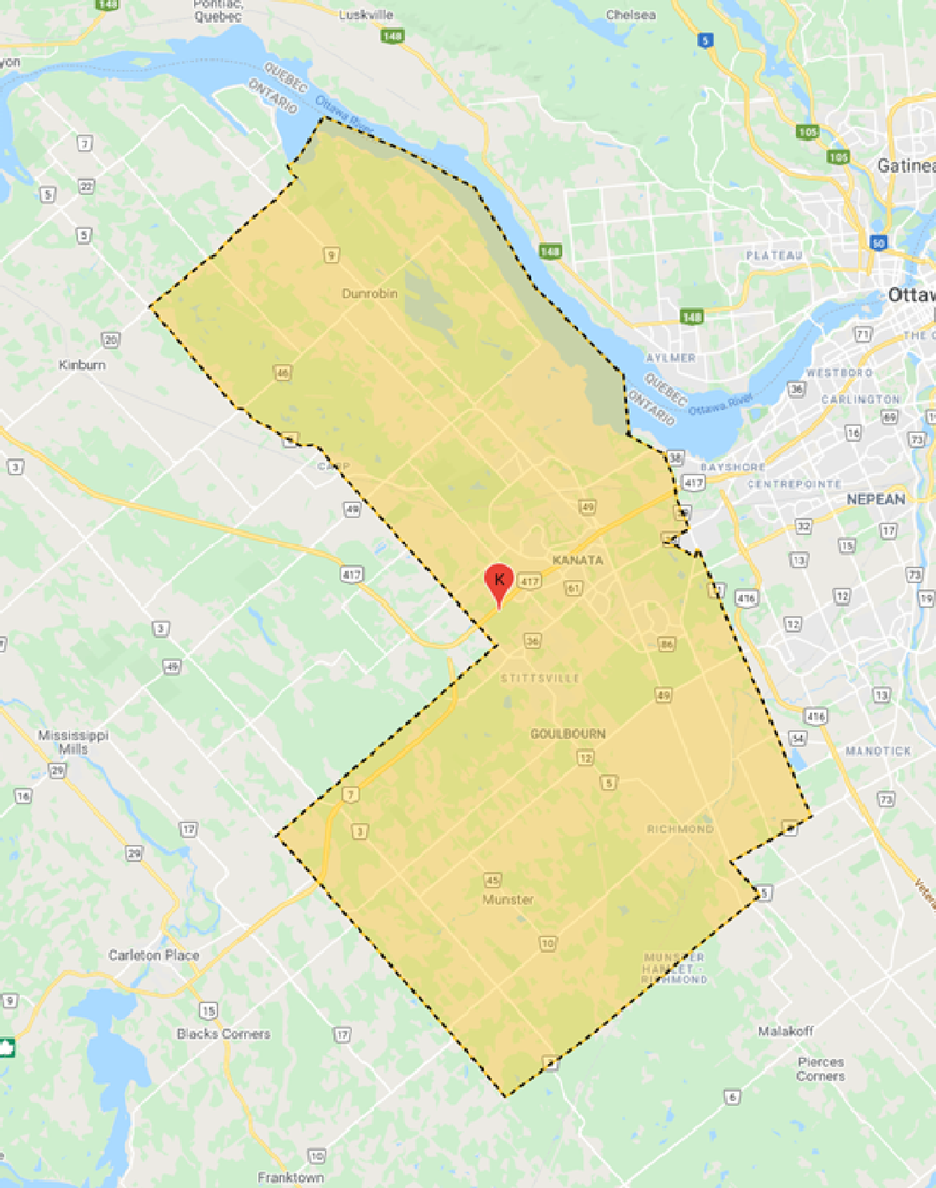 Map describing KBA's LL Ontario D2 Territory