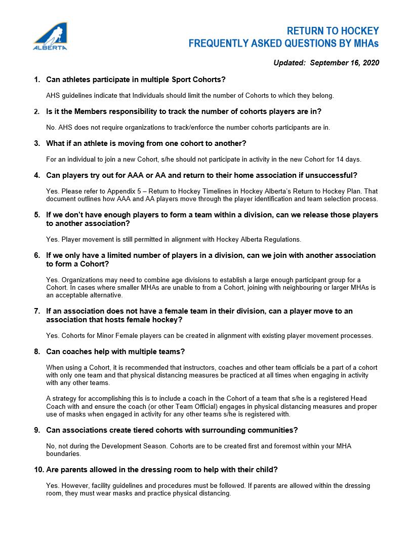 Hockey Alberta Return to Hockey FAQ