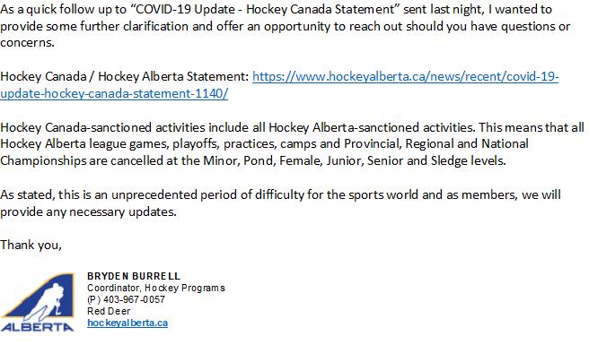 HAB UPdate Cancelled Hockey