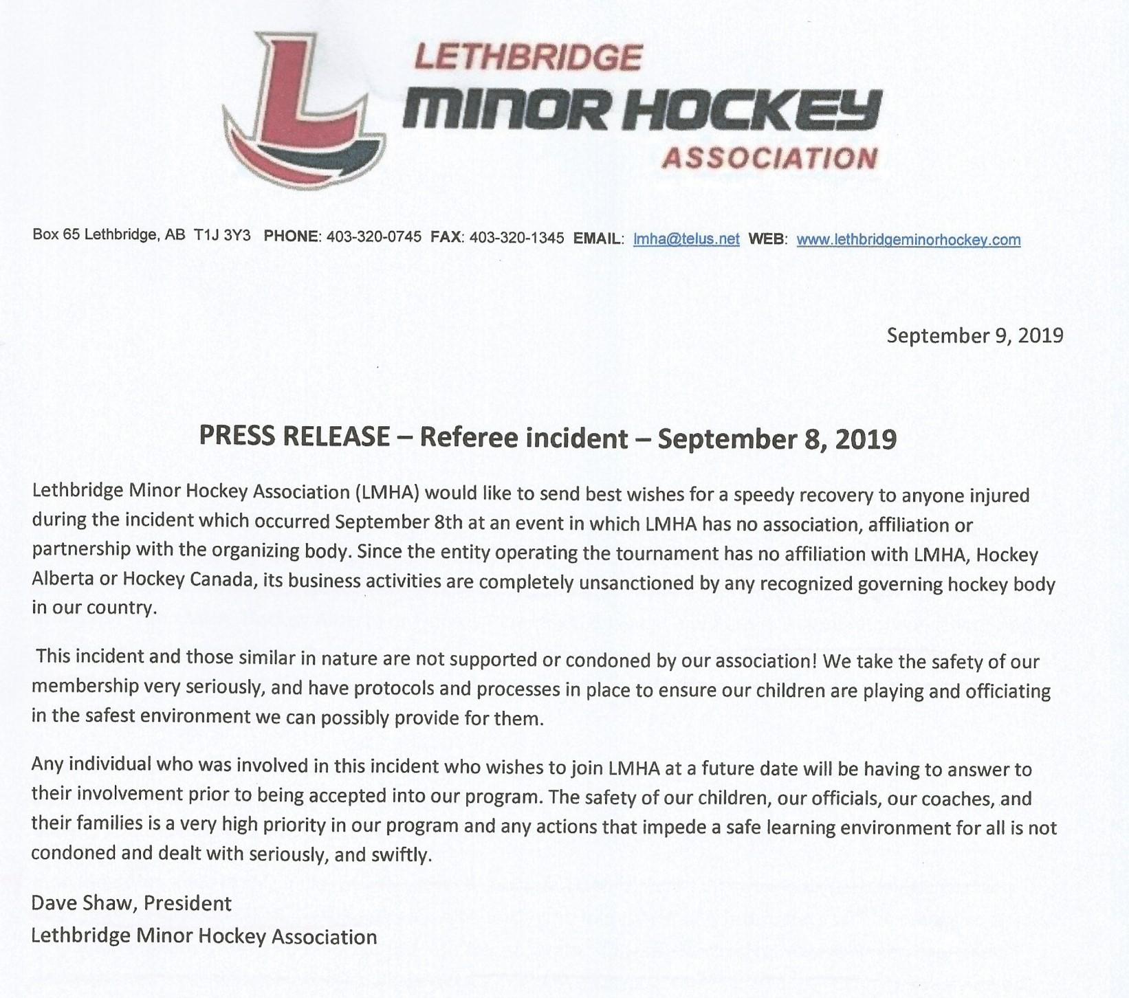 Press Release September 8 Incident