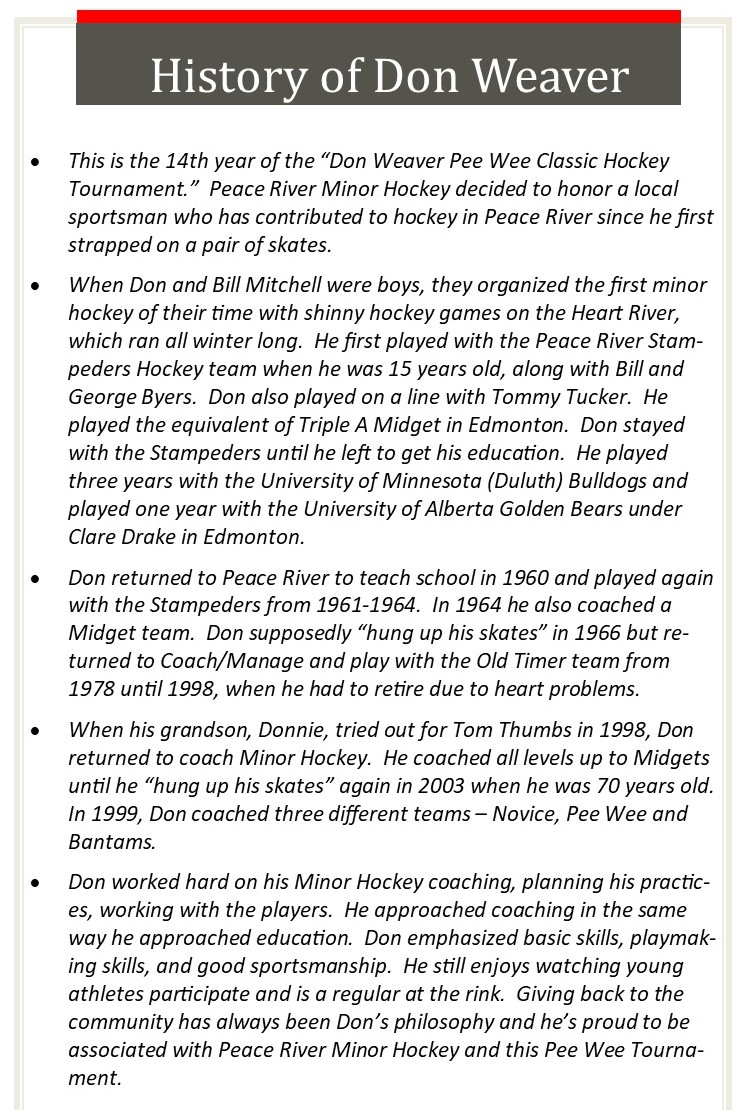 Don Weaver Peewee Classic History