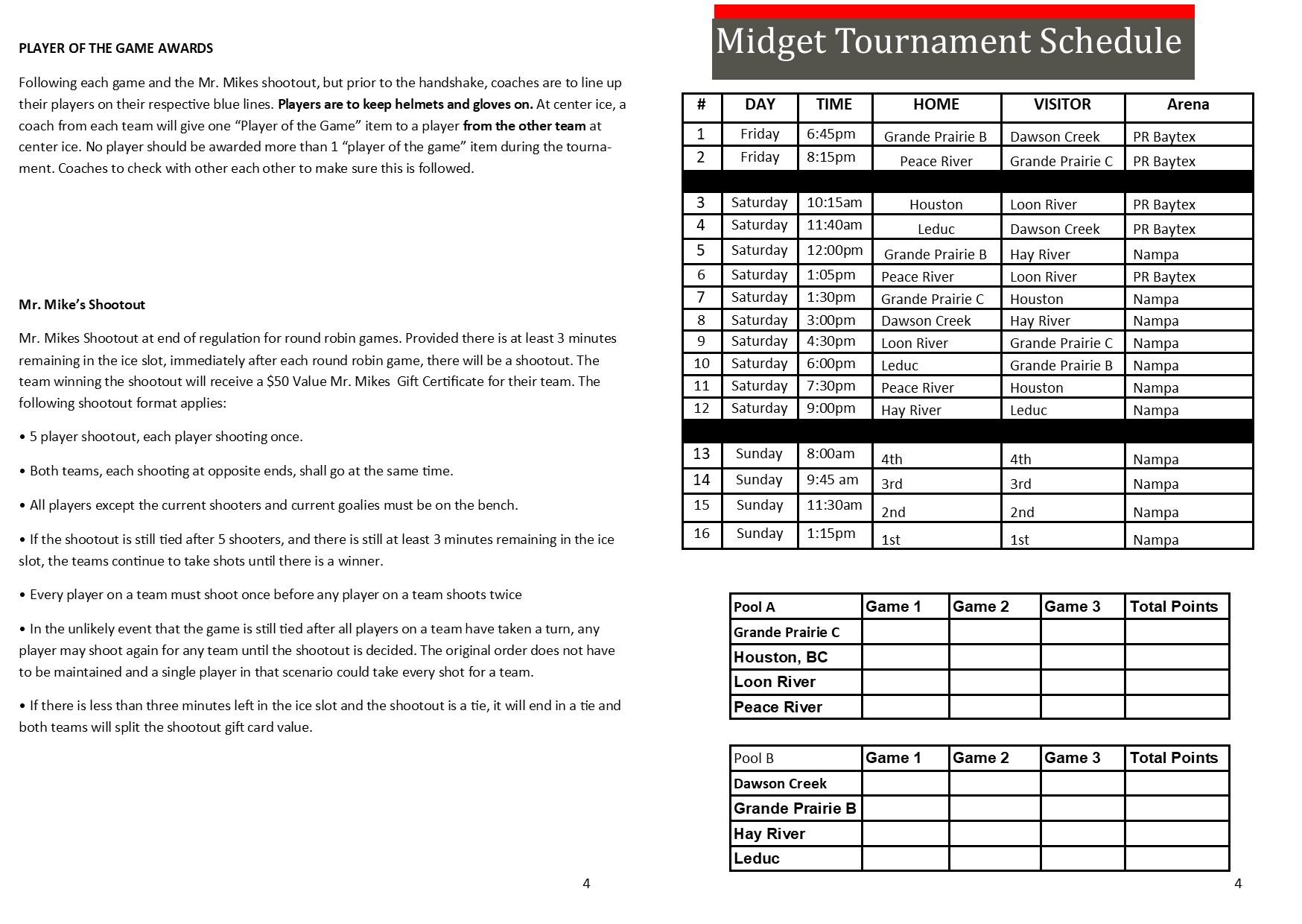 PRMHA Midget Schedule
