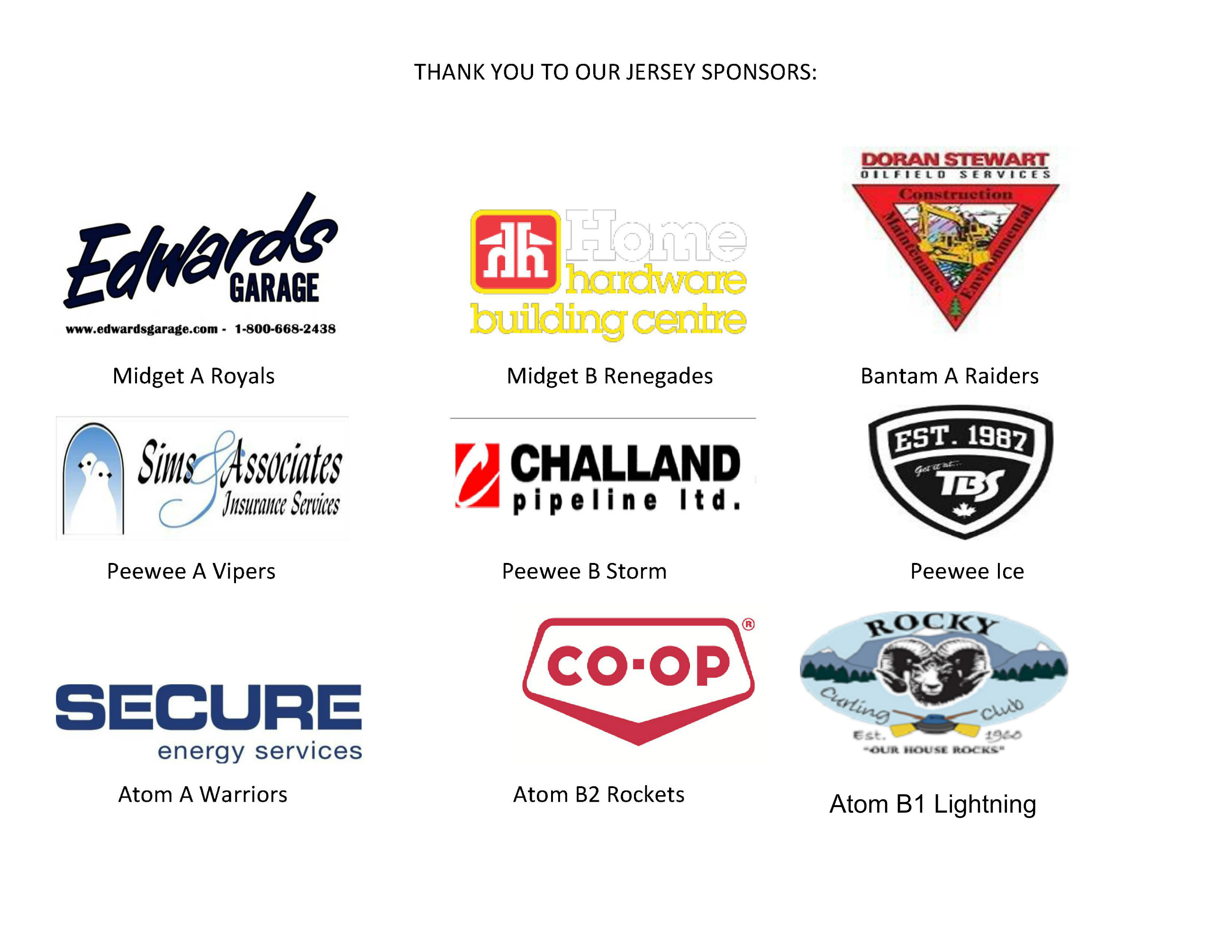 Thank you jersey sponsors!
