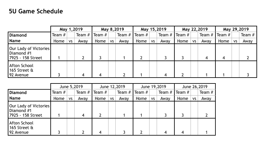 5U Game Schedule