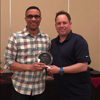 2018 EYBA Midget Girls Coach of the Year - SBA's Ron Bumbry (right) w/ EYBA President, Jay Ouellette
