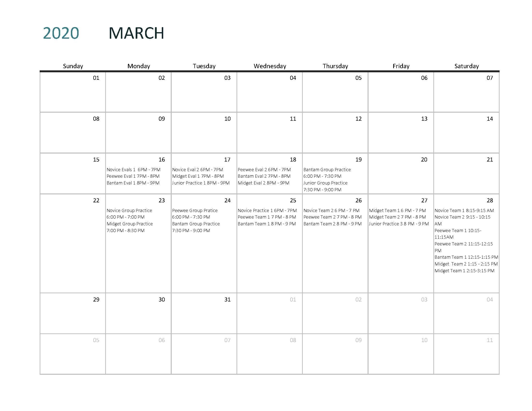 Evaluations Calendar