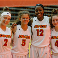 4 Thunder Girls playing for Jr. Dinos at PEBL tournament