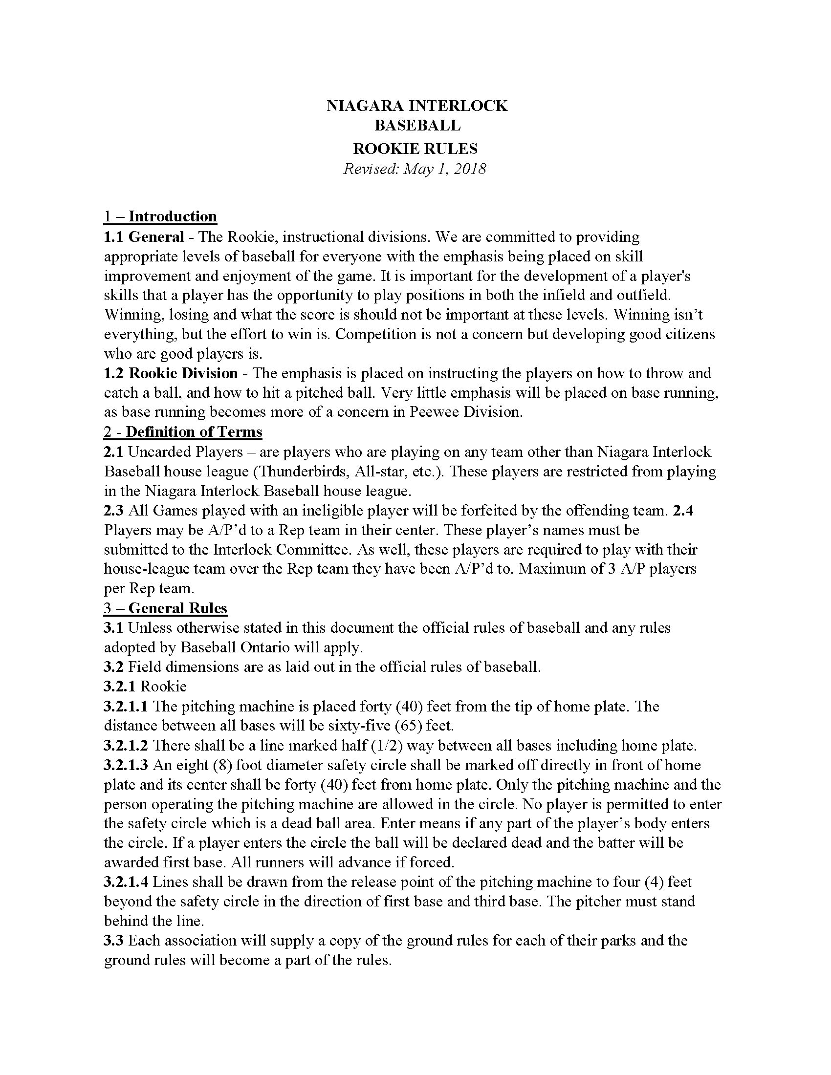 Sr. Rookie Rules 1