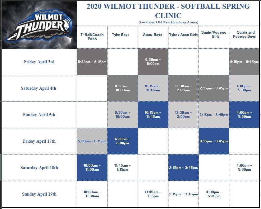 2020 Spring Clinic Schedule