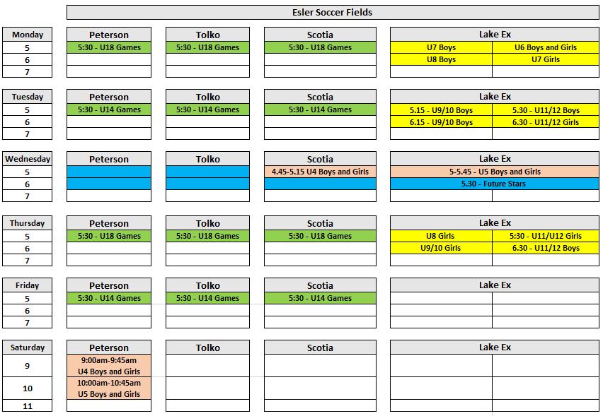 2021 Practice Schedule